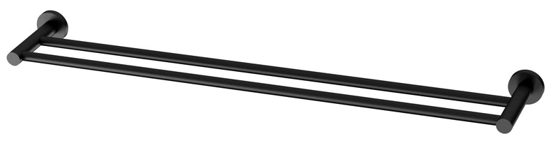 Radii Double Towel Rail 800mm Round Plate - Matte Black