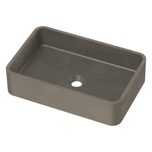 Rialto Concrete Rectangular Above Counter Basin - 500mm x 325mm, Dark Grey
