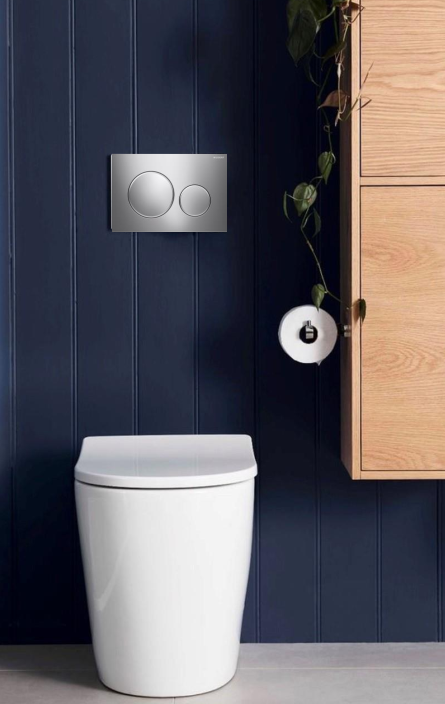 Rimini Rimless Wall Faced Pan with Geberit Inwall Cistern & Sigma Button