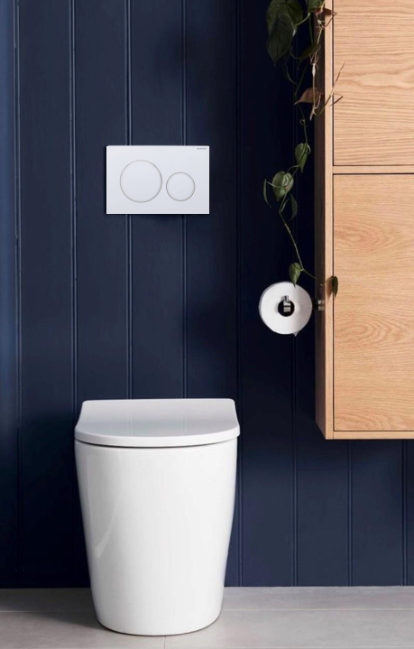 Rimini Rimless Wall Faced Pan, Geberit Sigma8 Cistern & Sigma Matte Button
