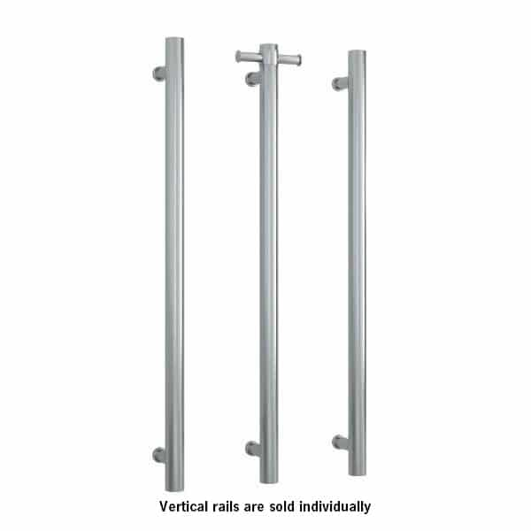 Thermorail 12V Vertical Single Bar Round Heated Towel Rail, Brushed VS900HBR