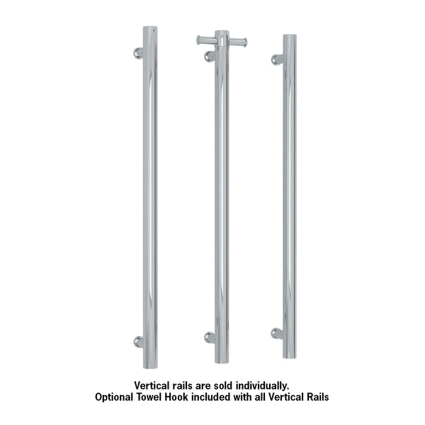 Thermorail 12V Vertical Single Bar Round Heated Towel Rail Polished VS900H
