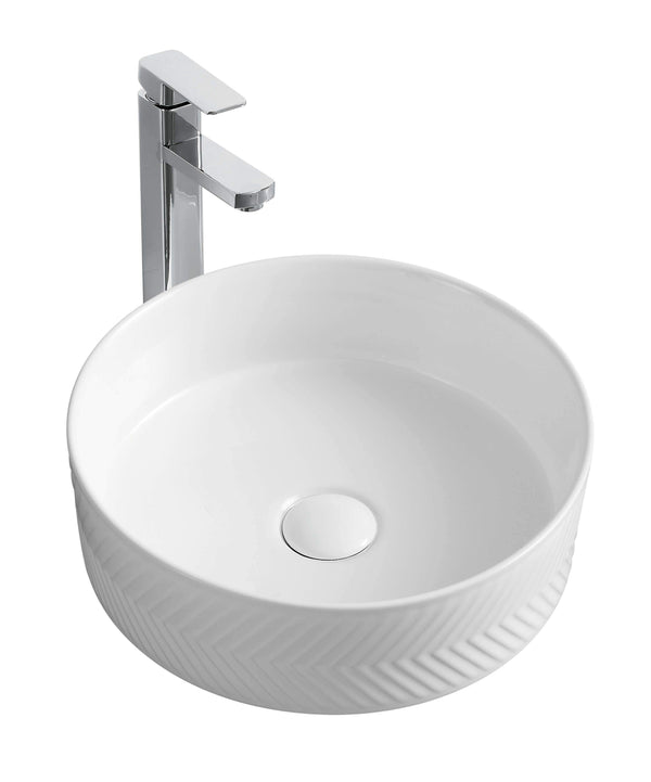 Torscan Above Counter Round Basin with Pattern - Matte White