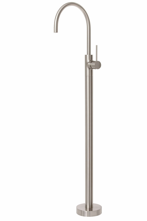 Vivid Slimline Floor Mounted Bath Mixer, Brushed Nickel