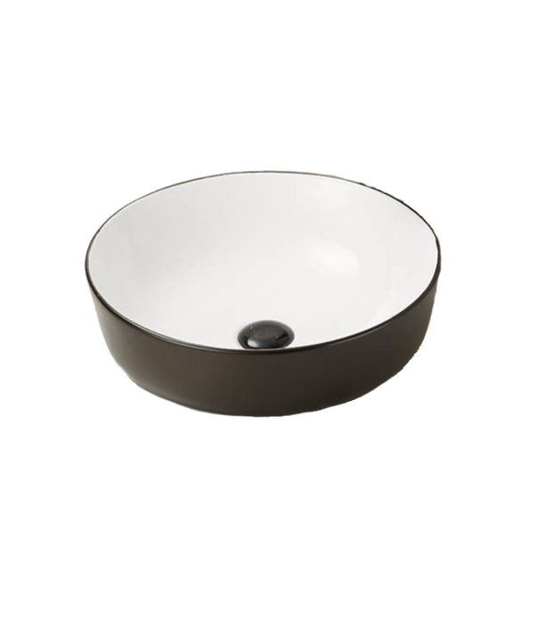 Innova Matte Black & Gloss White Round Ceramic Vessel Basin