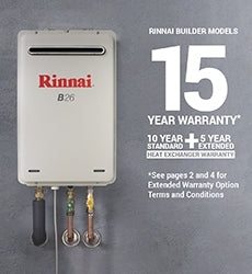 Rinnai B26 Builders Series LP GAS Continuous Flow Preset 50C Hot Water System B26L50A