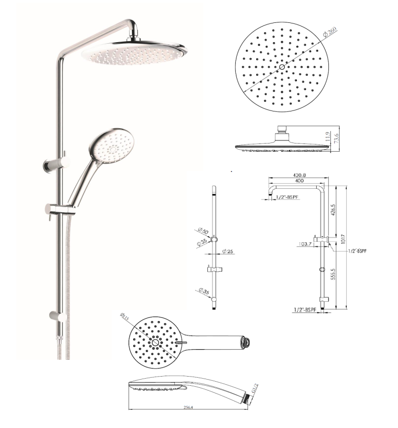 Willow Round Full Combination Shower Set - Chrome