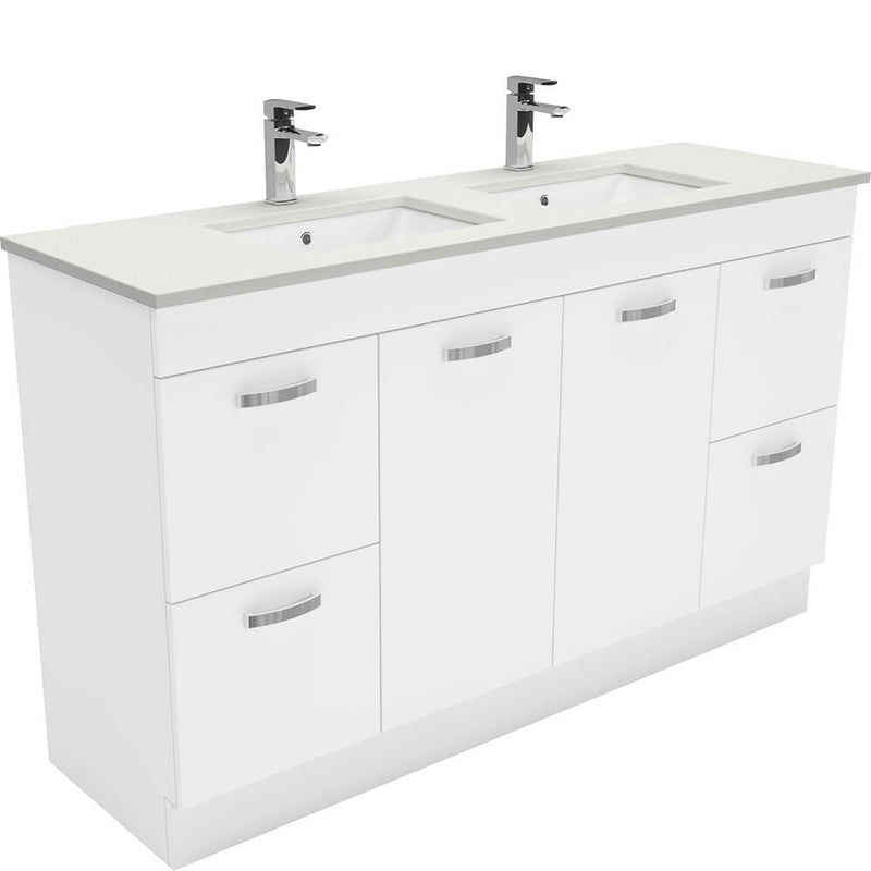 Dianne 1500mm Floor Standing Vanity Unit with Stone Top & Undermount Basin - Double Bowl