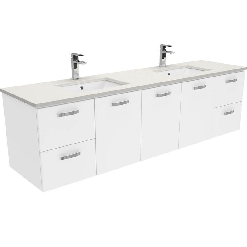 Dianne 1800mm Wall Hung Vanity Unit with Stone Top & Undermount Basin - Double Bowl