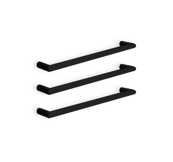 Thermorail 12V Single Bar Round Heated Towel Rail - Matte Black