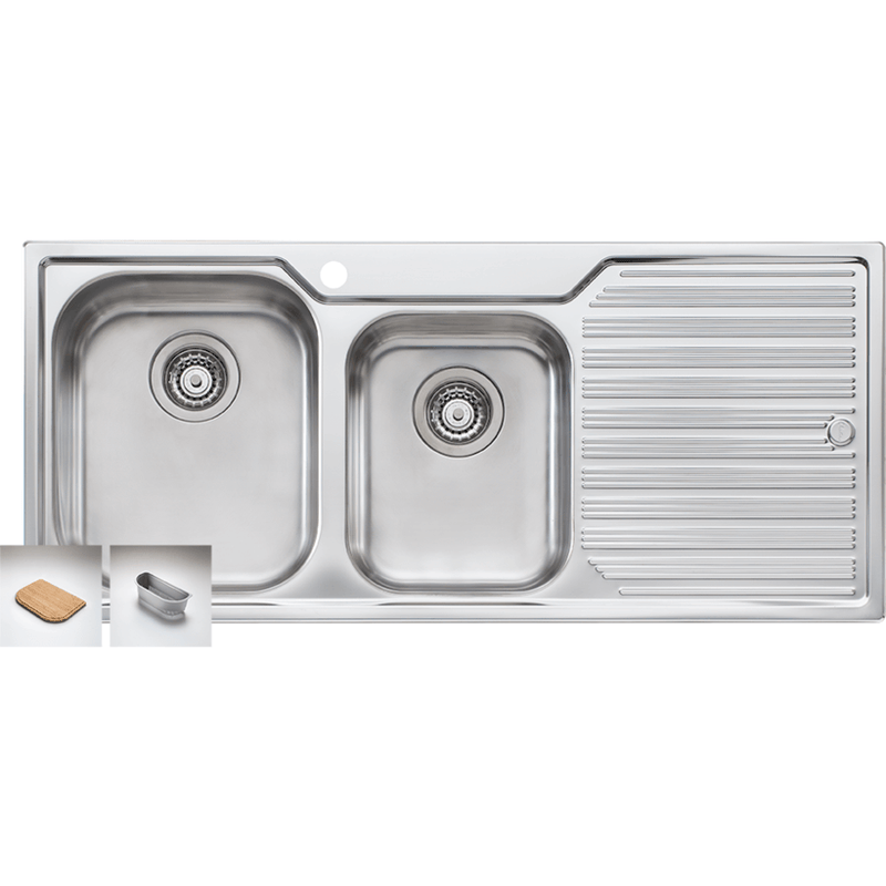 Oliveri Diaz 1080mm 1.75 Bowl & Single Drainer Sink