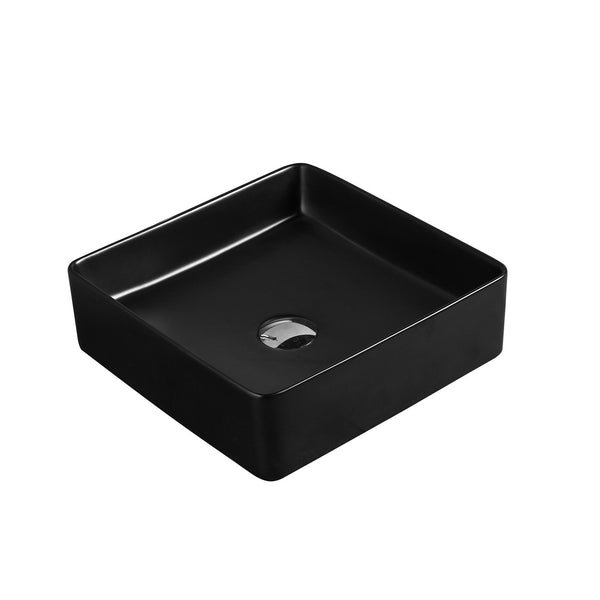 Bergamo Square Above Counter Basin - Matte Black