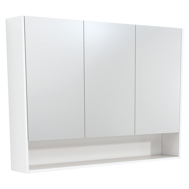 Fienza 1200mm Mirror Cabinet with Undershelf - Gloss White