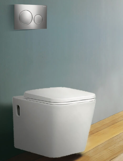 Ohio Wall Hung Pan with Geberit Frame Cistern & Buttons