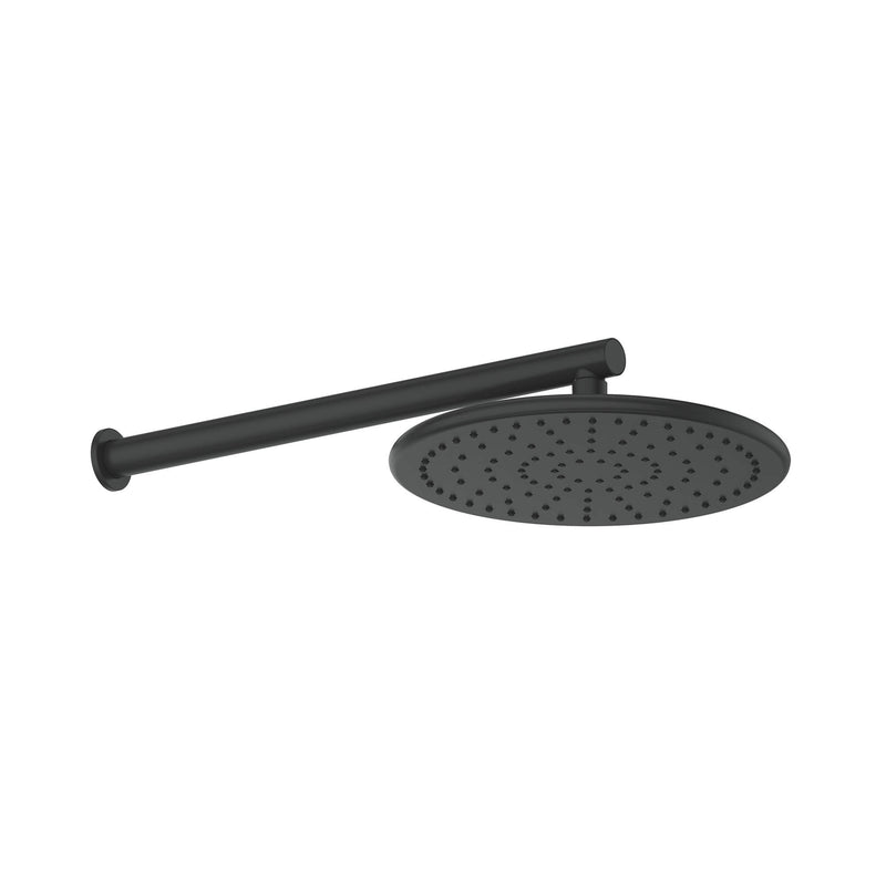 Greens Glint Overhead Wall Shower - Matte Black