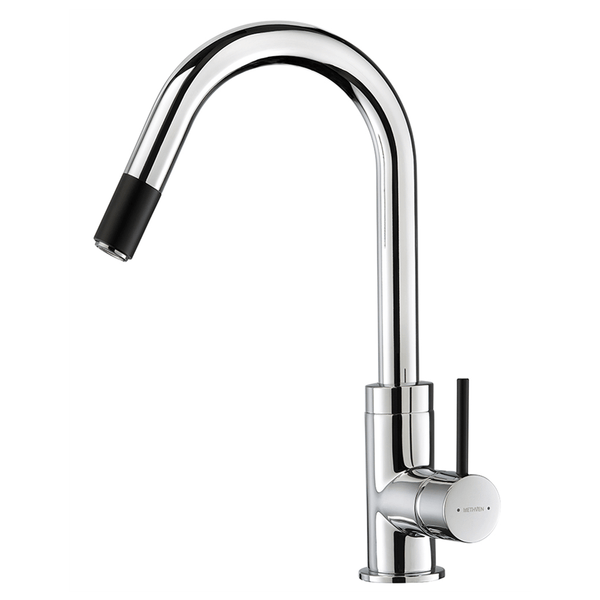 Methven Culinary Gooseneck Pull-Out Sink Mixer - Black Accent