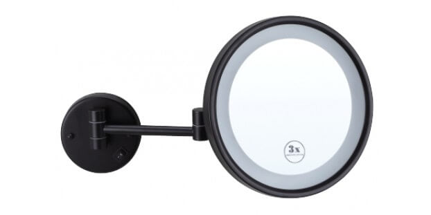 Ablaze Black Magnifying Mirror with Light - Round