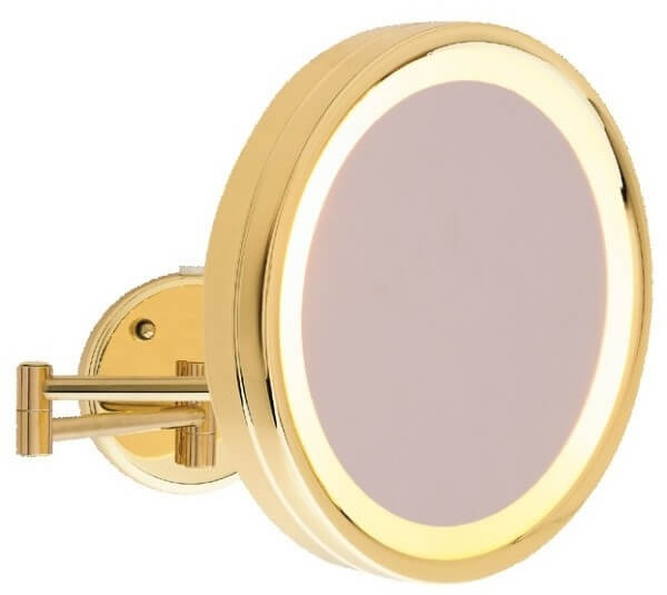 Ablaze Gold Round Magnifying Mirror with Light