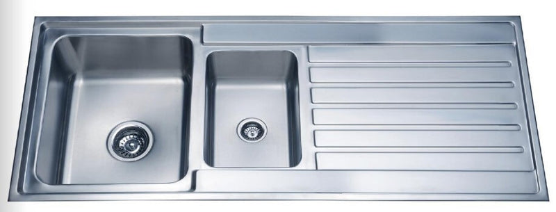 Laxa Square Sink 1000x500mm, 1.25 Bowls with Drainer