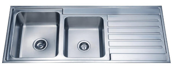 Laxa Square Sink 1120x500mm, 1.75 Bowls with Drainer