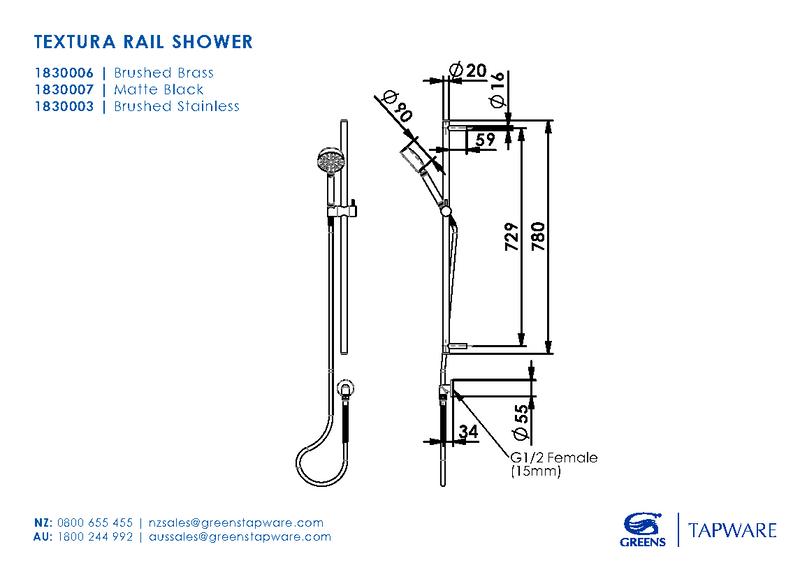 Greens Textura Rail Shower - Brushed Stainless