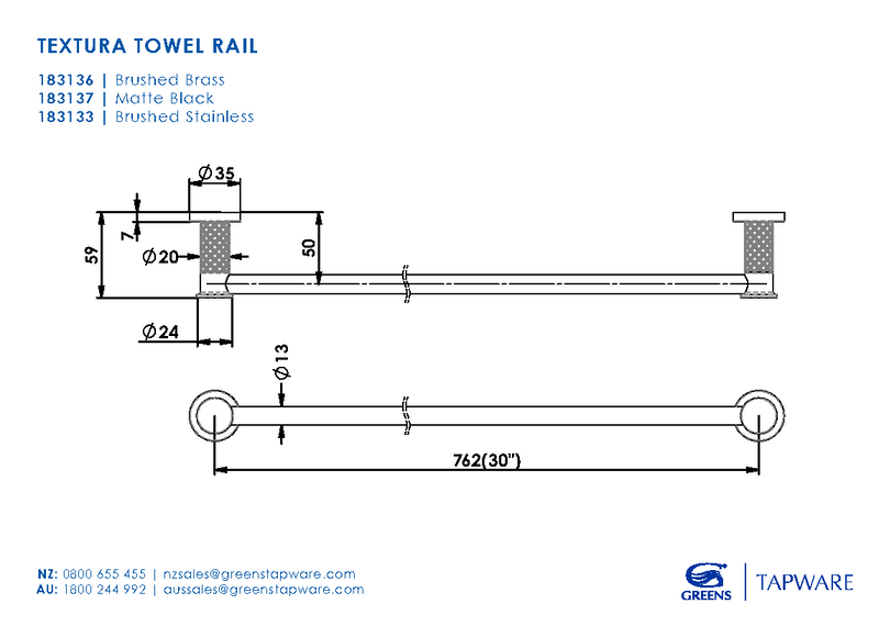 Greens Textura Single Towel Rail 762mm - Brushed Stainless