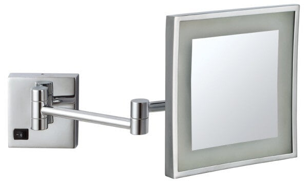 Ablaze Chrome Magnifying Mirror with Light - Square