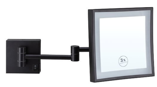 Ablaze Black Magnifying Mirror with Light - Square