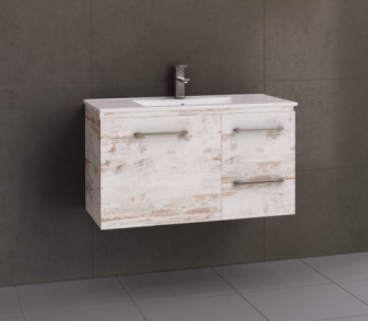 Manhattan 900mm Wall Hung Vanity with Moulded Top, Centre or Offset Bowl