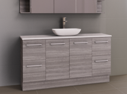Manhattan 1500mm Floor Standing Vanity, SilkSurface Top with Above / Under Counter Basin