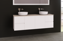 Manhattan 1500mm Wall Hung Vanity, SilkSurface Top, Above / Under Counter Basin, Double Bowl