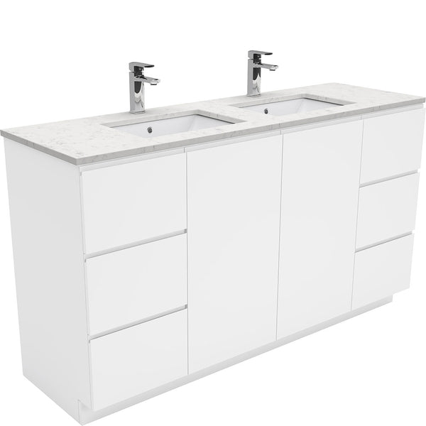 Mia 1500mm Floor Standing Vanity Unit with Stone Top & Undermount Basin - Double Bowl