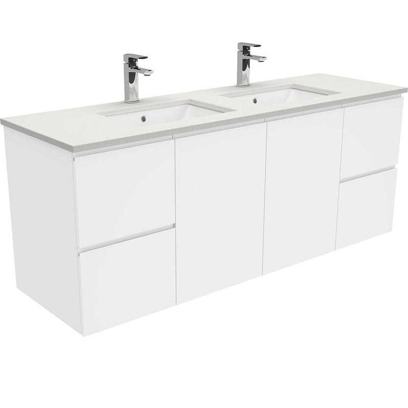 Mia 1500mm Wall Hung Vanity Unit with Stone Top & Undermount Basin - Double Bowl