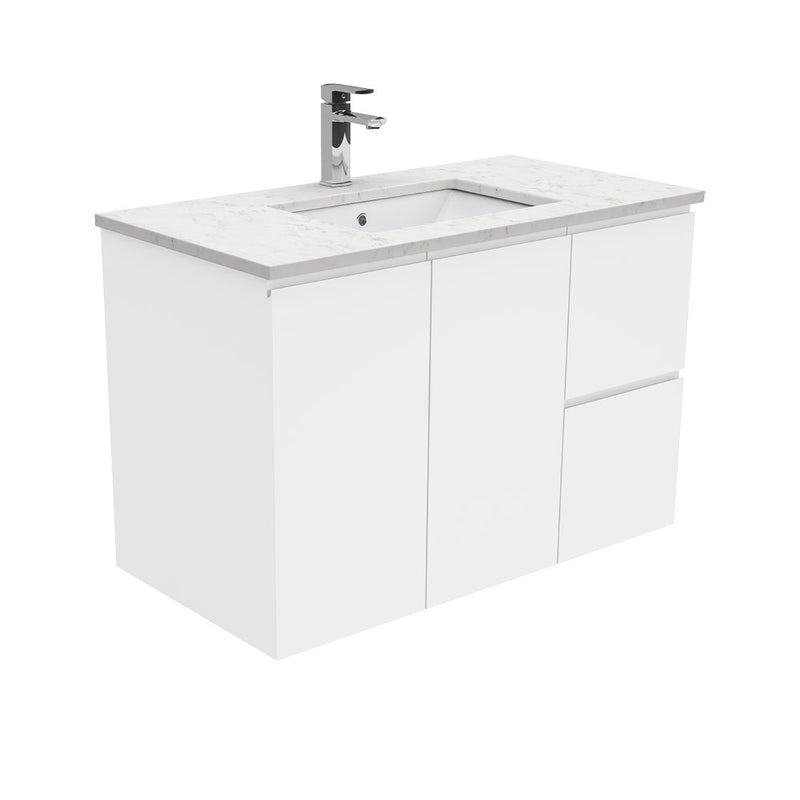 Mia 900mm Wall Hung Vanity Unit with Stone Top & Undermount Basin