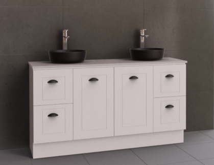 Manhattan Classic 1500mm Floor Standing Vanity, Double Above or Under Counter Basin