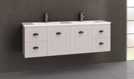 Manhattan Classic 1500mm Wall Hung Vanity, Double Bowl