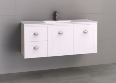 Manhattan Classic 1200mm Wall Hung Vanity, Single or Double Bowl Ceramic Top