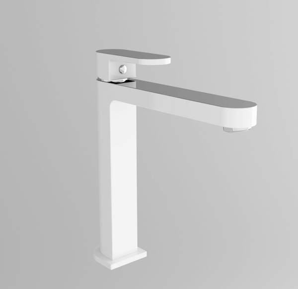 Ecco Tall Basin Mixer, White & Chrome