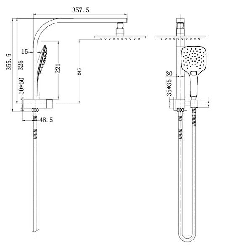 Celia Twin Combination Overhead and Bracket Shower