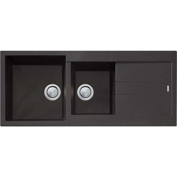 Oliveri Santorini (Reversible) 1 & 3/4 Bowl Kitchen Sink - Black