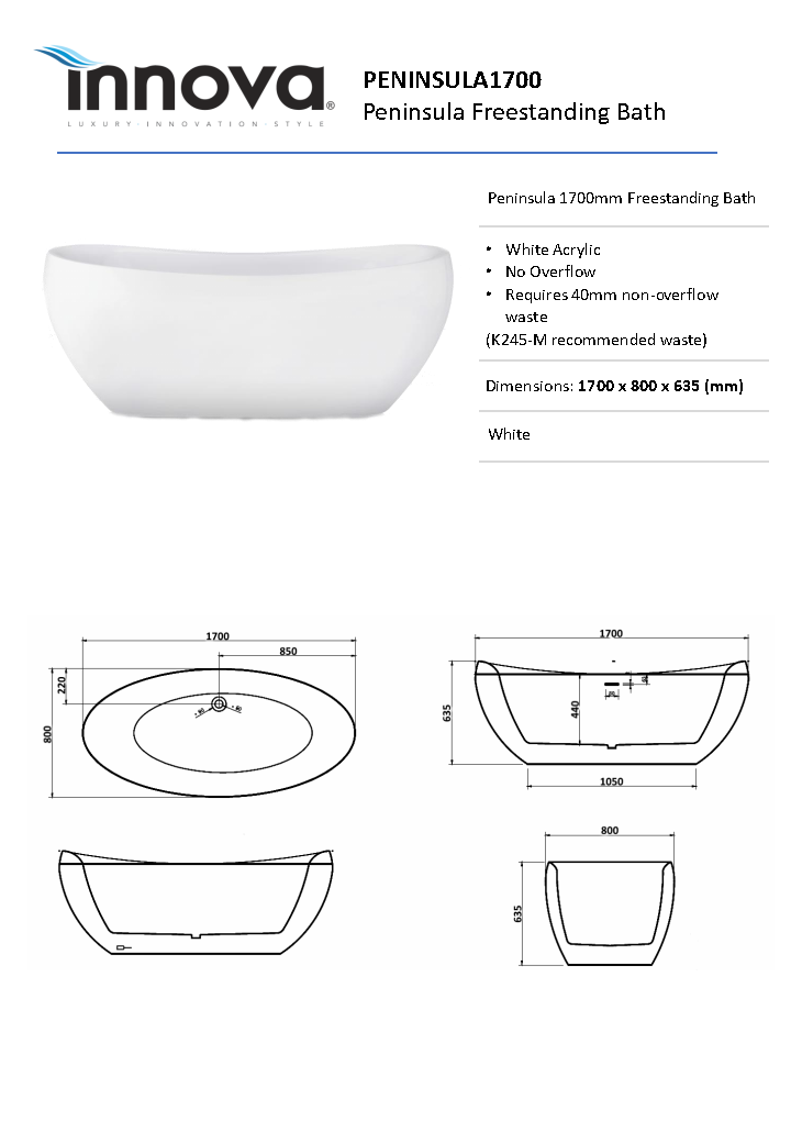 Peninsula 1700 Freestanding Bath