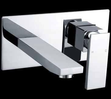 Sole Wide Square Handle Bath Mixer & Outlet & Wall Plate Chrome