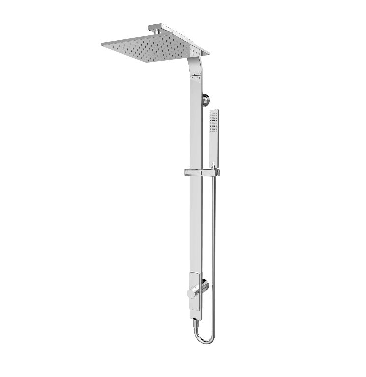 Rain Square Overhead Shower and Handshower on Column, Single Hose. Chrome