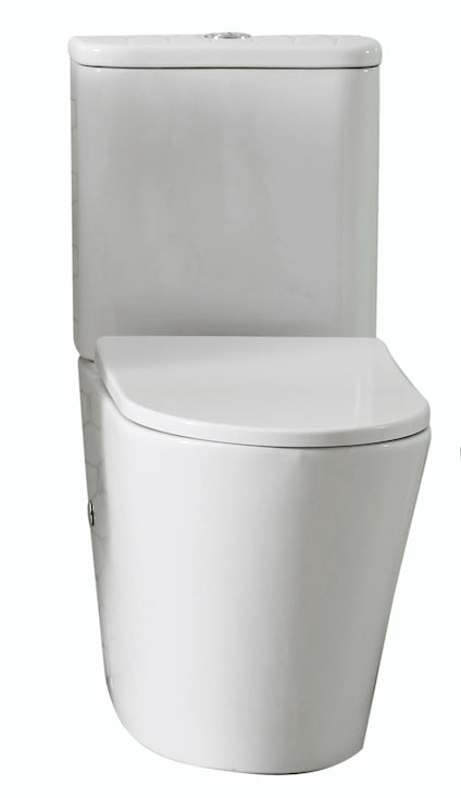 Rimini Rimless Back To Wall Short Projection, Nano Glaze Toilet Suite