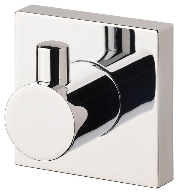 Radii Robe Hook Square Plate - Chrome