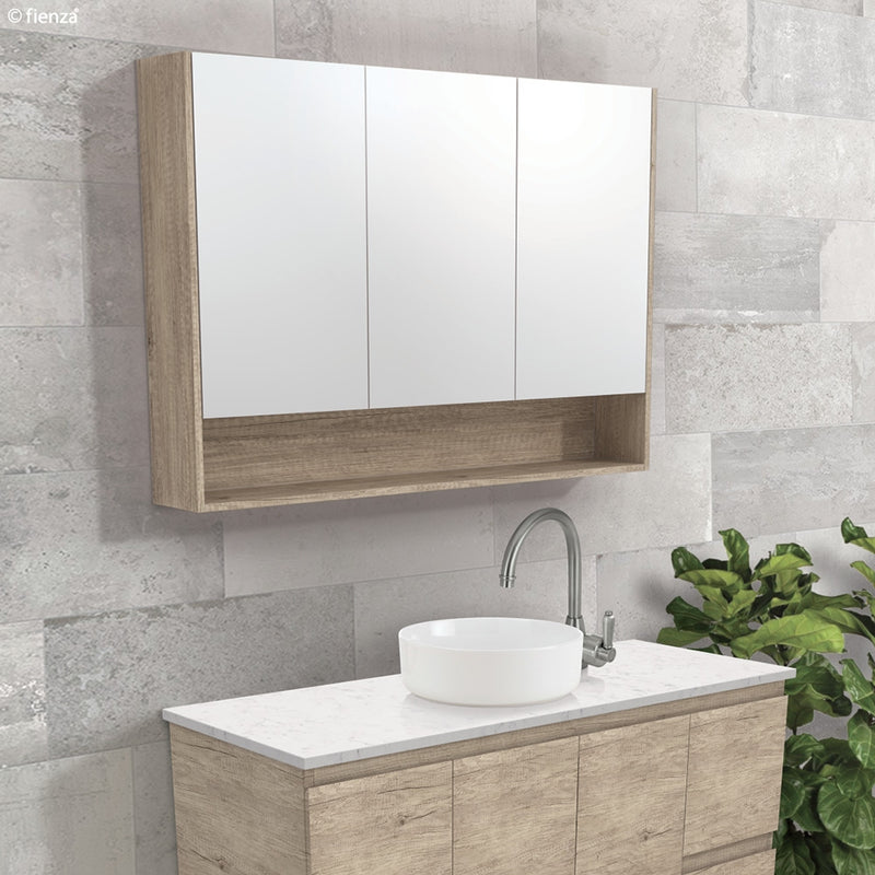 Fienza 1200mm Mirror Cabinet with Undershelf - Scandi Oak