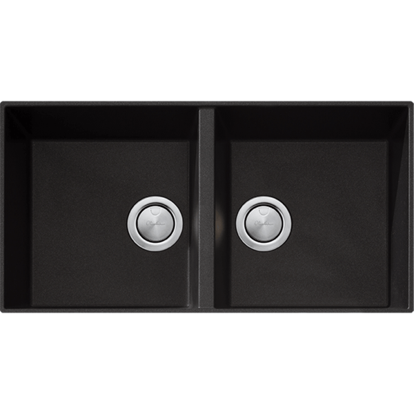 Santorini Black Granite Double Bowl Undermount Sink