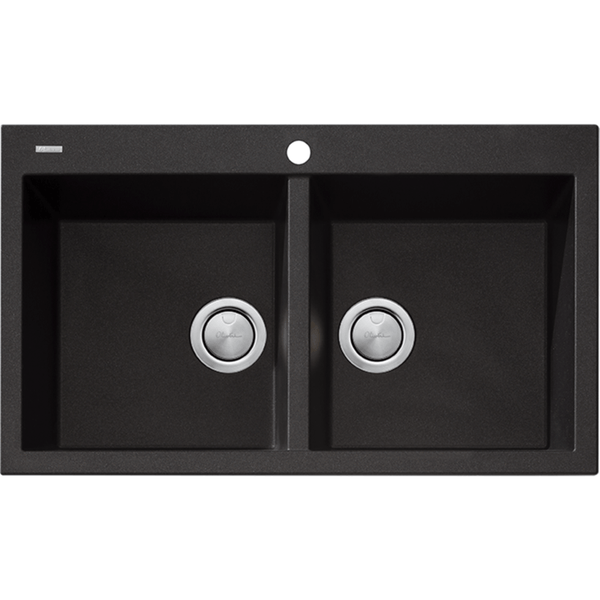 Santorini Black Granite Double Bowl Sink