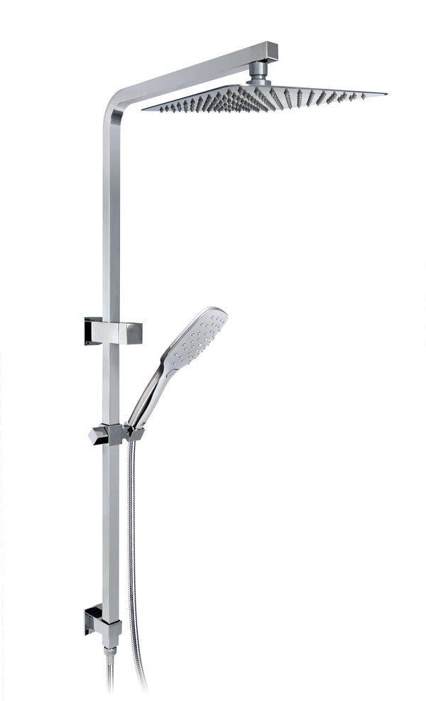 Telfer 250mm Wall Shower with Childers Variable Setting Shower on Square Twin EL Rail