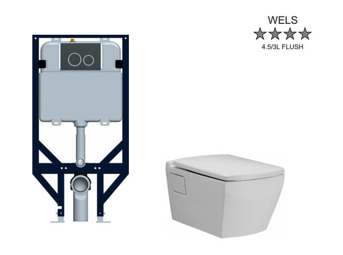 Tetragon Econoflush In-Wall Toilet Suite Wall Hung - includes Chrome Buttons